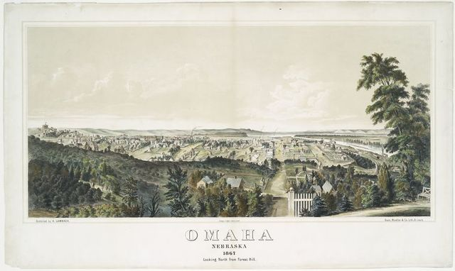 Omaha, Nebraska 1867 looking north from Forest Hill.