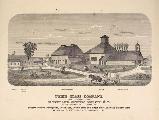 Union Glass Company. Established 1851. Cleveland, Oswego County, N.Y. Manufacturers of all sizes of Windows, Pictures, Photograph, Coach, Car, Double Thick and Single White American Window Glass. Address, C. Kathern, Agt., Cleveland, N.Y.