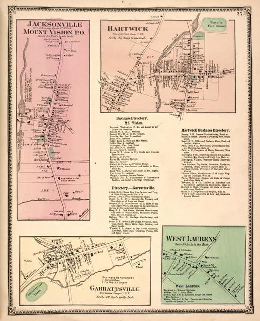 Jacksonville, Mount Vision P.O. [Village]; Hartwick [Village]; Business Directory. Mt. Vision. ; Directory.- Garrattsville. ; Hartwick Business Directory. ; Garrattsvile [Village]; West Laurens [Village]