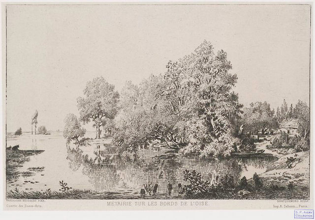 Métairie sur les bords de l'Oise [d'après Theodore Rousseau].