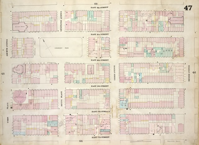 [Plate 47: Map bounded by East 22nd Street, Second Avenue, East 17th Street, Union Place, Fourth Avenue; Including East 21st Street, East 20th Street, East 19th Street, East 18th Street, Gramercy Place, Lexington Avenue, Irving Place, Third Avenue]
