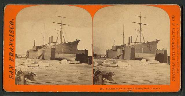 Steamship Ajax in the Floating Dock, Hunter's Point.