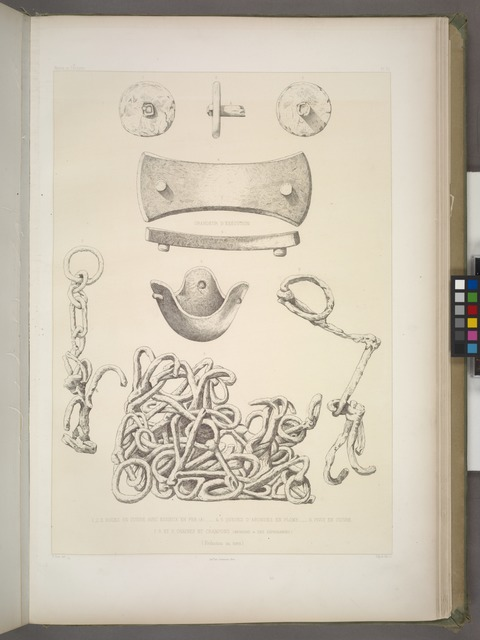 1-3. Roues en cuivre avec essieux en fer (Harem); 4,5. Queues d'arondes en plomb (Sérail); 6. Pivot en cuivre (Harem); 7-9. Chaines et crampons (magasins 'm' des dépendances.) (Réduction au tiers.)