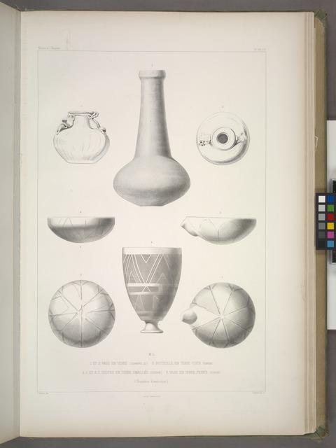 1 et 2. Vase en verre (chambre 22); 3. Bouteille en terre cuite (harem); 4-7. Coupes en terre émaillée (Djigan); 8. Vase en terre peinte (Djigan). Grandeur d'exécution.