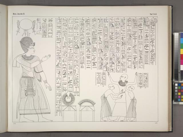 Als Ergänzung zu der auf Taf. 40 e mitgetheilten Darstellung einer Ordensverleihung durch König Horus an den Thebanischen Priester Neferhotep, zwei Abbildungen mit den dazu gehörigen Inschriften ähnlichen Inhaltes, erstere aus einem Grabe aus der Zeit des Königs Sethos, letztere von einer Tempelwand in Karnak aus der Zeit Ramses IX.