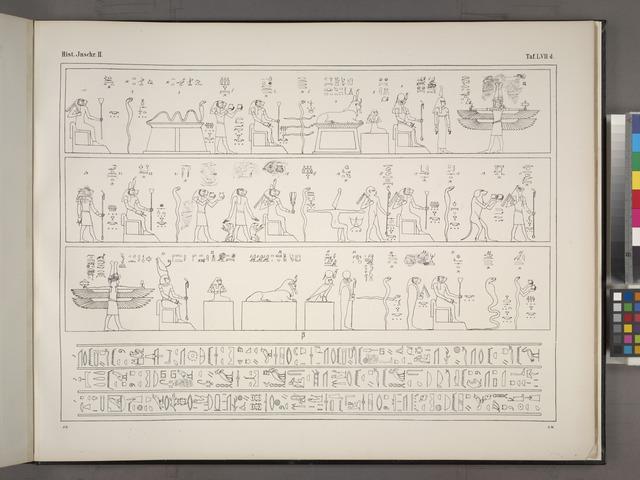 Astronomische Darstellungen und Inschriften aus Dendera, angebracht in einem der Zimmer und an der Decke des grossen Saales.