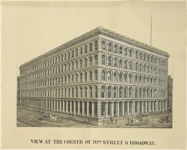 View at the corner of 10th Street & Broadway. [A. T. Stewart's store.]