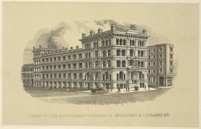 View of the southeast corner of Broadway & Leonard St.