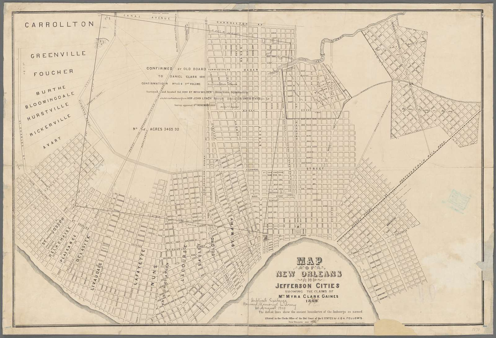 Map of New Orleans and Jefferson Cities showing the claims of Mrs. Myra Clark Gaines, 1869