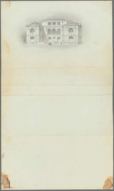 Pencil drawing of Lenox Library building