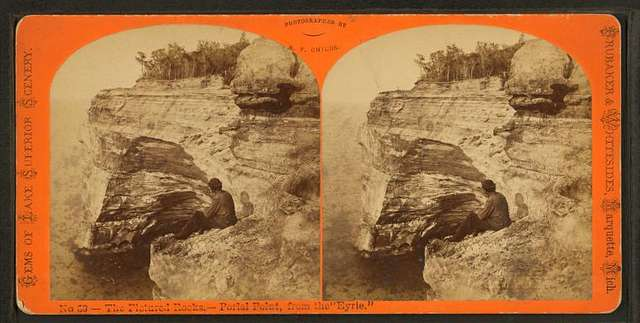 """The Pictured Rocks, Portal Point, from the """"Eyrie."""""""