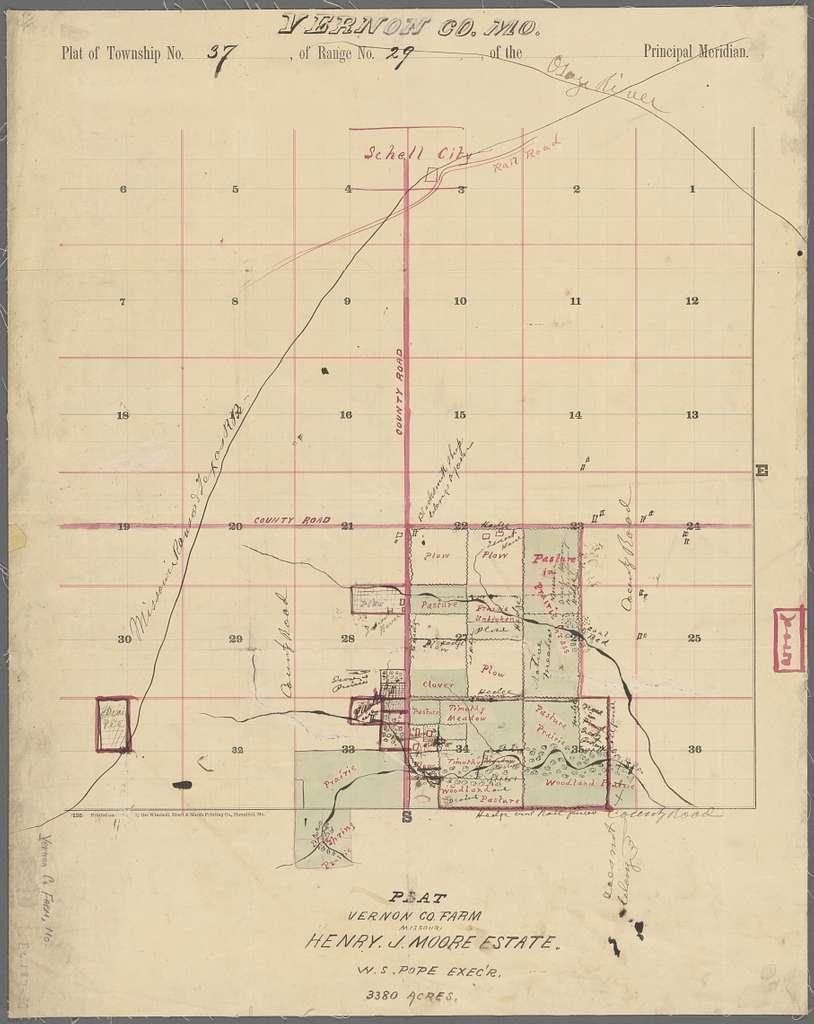 Vernon Co., Mo. : plat of township no. 37, of range no. 29, of the principal meridian