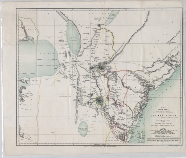 A map showing the routes of some native caravans from the coast to the interior of Eastern Africa, from information collected by the Rev. T. Wakefield ... also of two personal journeys to the Southern Galla country made by the Rev. Wakefield & C. New in 1865 and 1866-7
