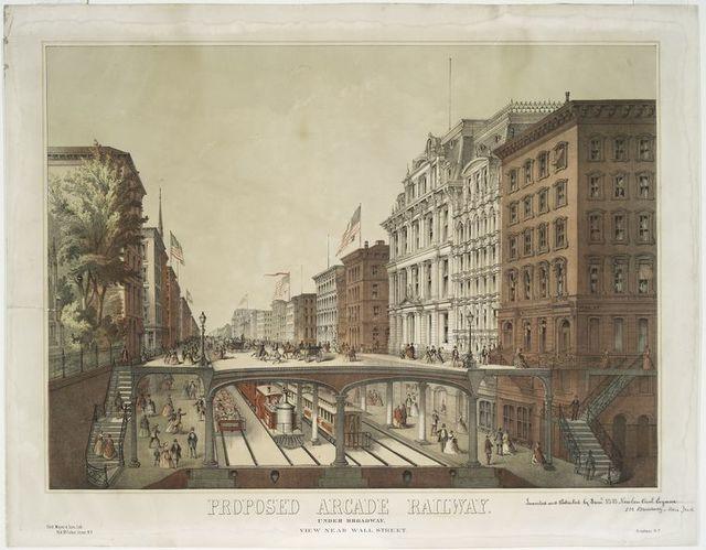 Proposed Arcade Railway. Under Broadway, view near Wall Street.