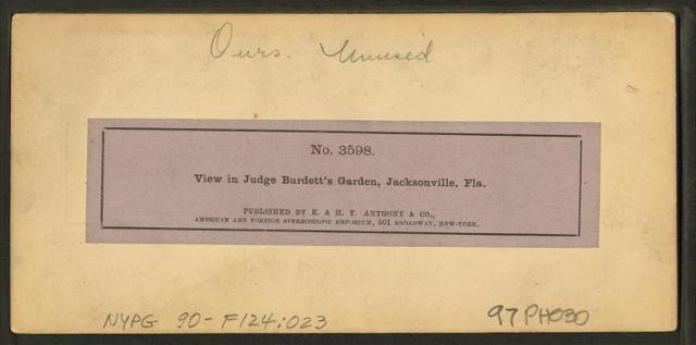 View in Judge Burdett's Garden, Jacksonville, Fla.
