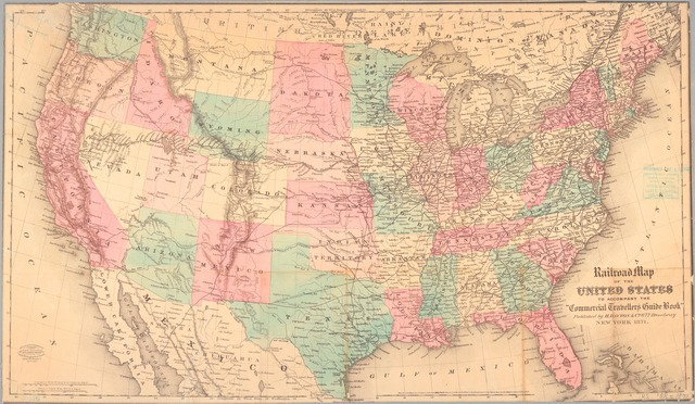 """Railroad map of the United States to accompany the """"Commercial travellers guide book""""."""