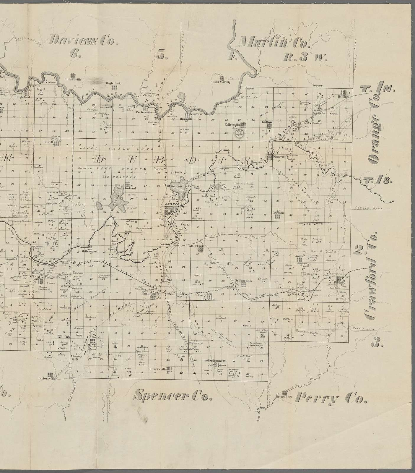 Map of Pike and Dubois Counties, Inda.
