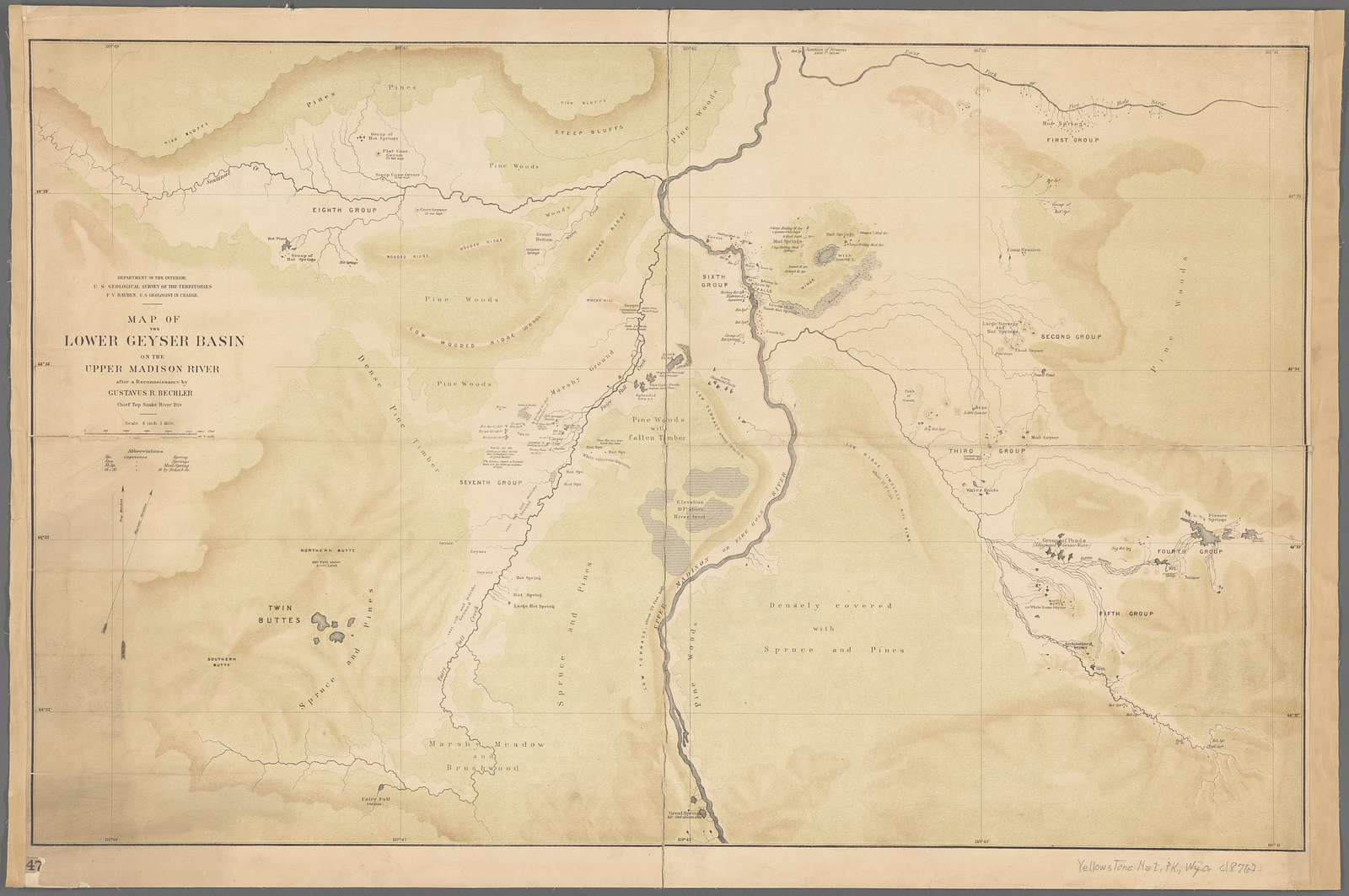 Map of the Lower Geyser Basin of the Upper Madison River : after a reconnoissance by Gustavus R. Bechler, Chief Top. Snake River. Div.