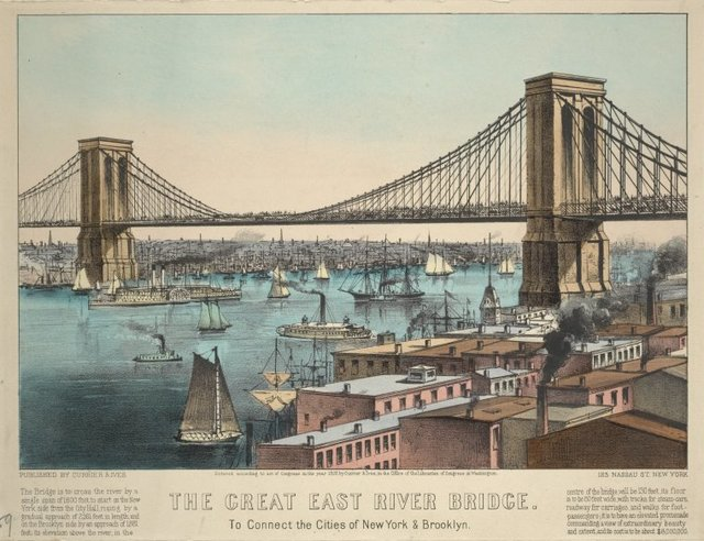 The Great East River Bridge. To connect the cities of New York & Brooklyn