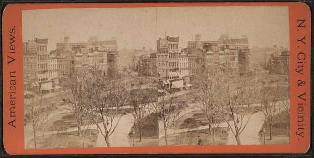 Broadway looking North from Union Square. Taken from the new building of The Domestic Sewing Machine Co.