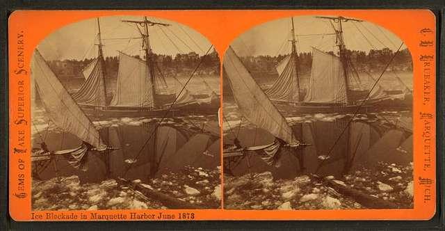 Ice blockade in Marquette Harbor, June 1873.