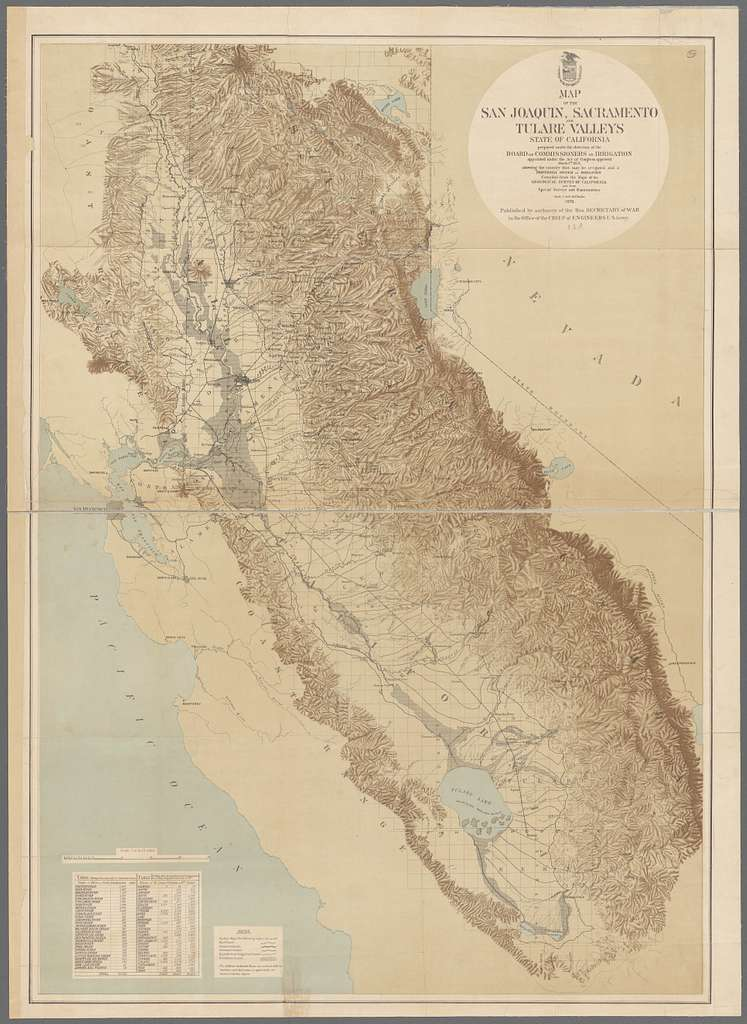 Map of the San Joaquin, Sacramento and Tulare Valleys, state of California : showing the country that may be irrigated and a provisional system of irrigation