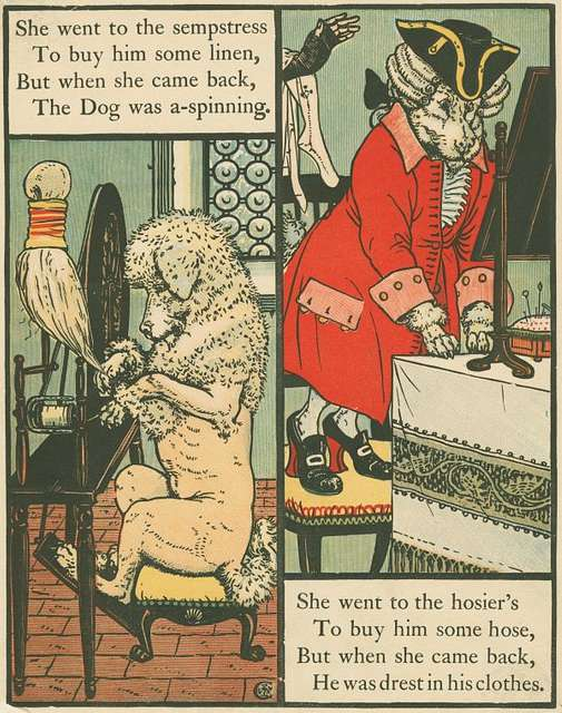 She went to the sempstress to buy him some linen, but when she came back, the dog was a-spinning.