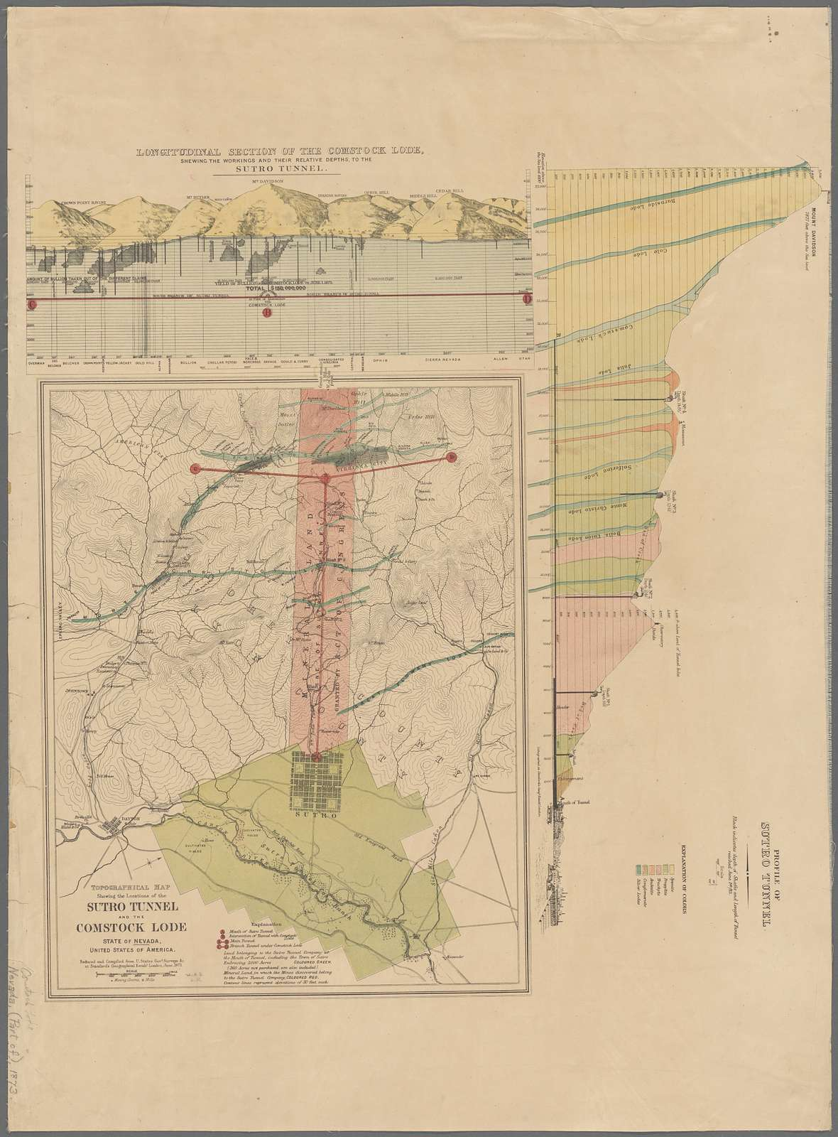 Topographical map showing the locations of the Sutro Tunnel : and the Comstock Lode, State of Nevada, United States of America, reduced and compiled from U. States govt. surveys &c. at Stanford's Geographical Estabt.