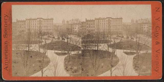 Union Square & Everett House. Taken from the new building of The Domestic Sewing Machine Co.