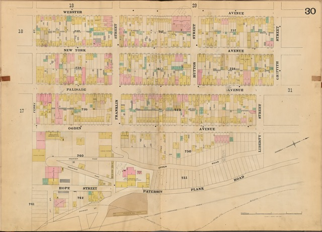Jersey City, V. 4, Double Page Plate No. 30 [Map bounded by Webster Ave., Griffith St., Paterson Plank Rd., Hope St., Ferry St.]