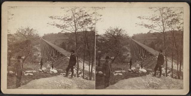 View looking south on the Trestle Bridge, at East Tarry Town, N.Y. on the New York, Boston & Montreal  Railway.