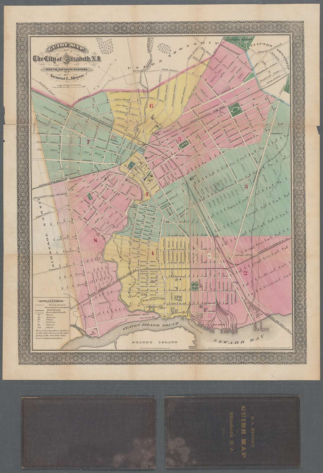 Guide map of the city of Elizabeth, N.J. with the new house numbers