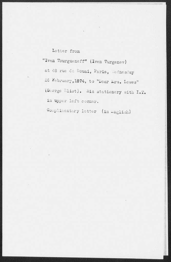 Turgenev, Ivan Sergeyevich. ALS to Eliot
