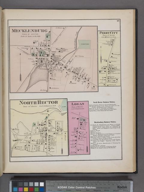 Mecklenburg [Village]; Perry City [Village]; North Hector [Village]; Logan [Village]; North Hector Business Directory. ; Mecklenburg Business Directory.