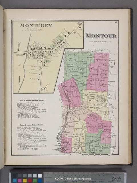Monterey [Village]; Montour [Township]; Town of Montour Business Directory. ; Town of Orange Business Directory.