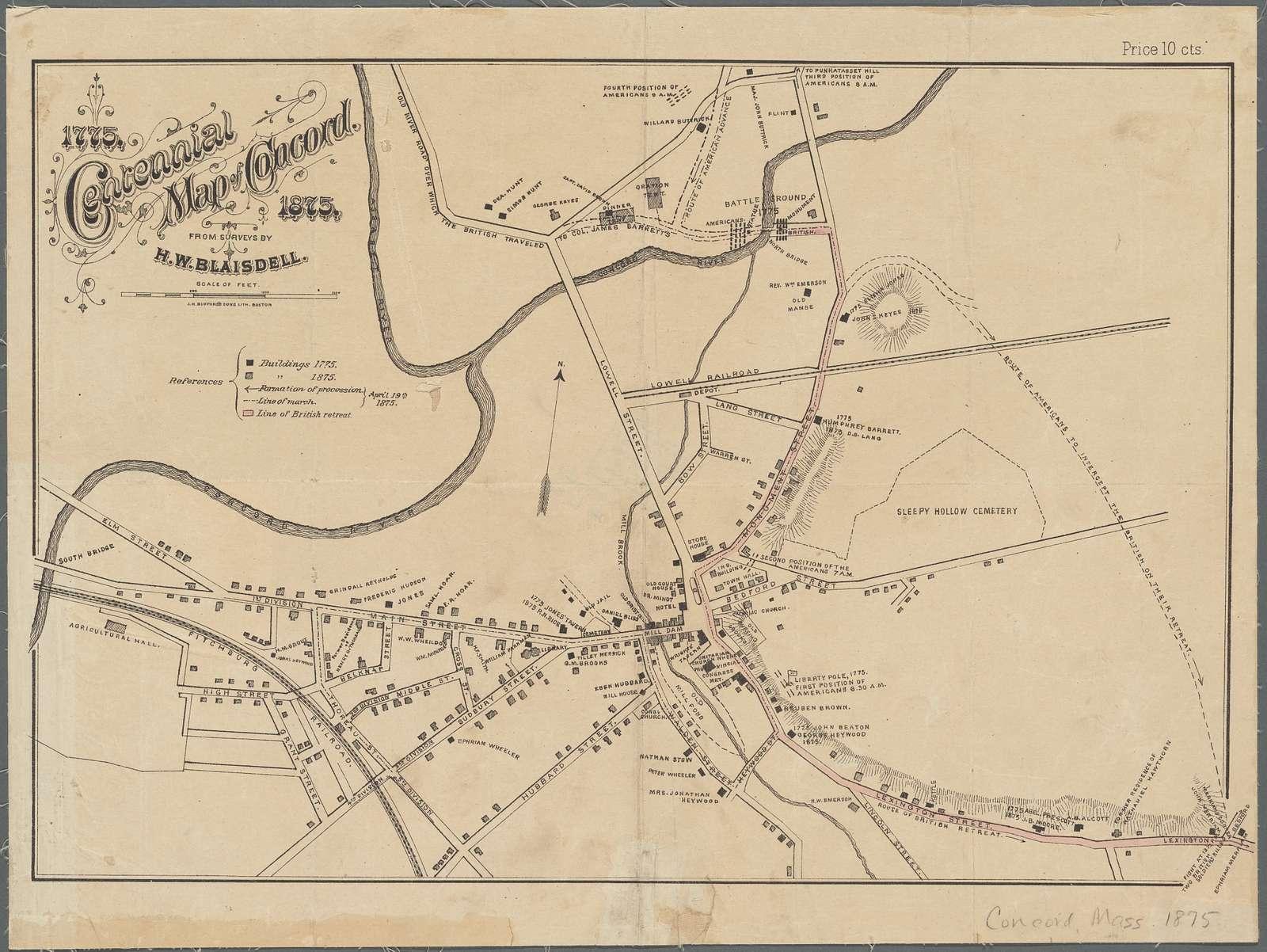 Centennial map of Concord, 1775-1875