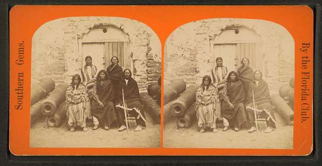 Group of the 3 most celebrated Indian Chiefs and 2 women prisoners.