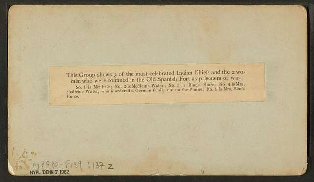 Group of the 3 most celebrated Indian Chiefs and 2 women prisoners, confined in the Old Spanish Fort.