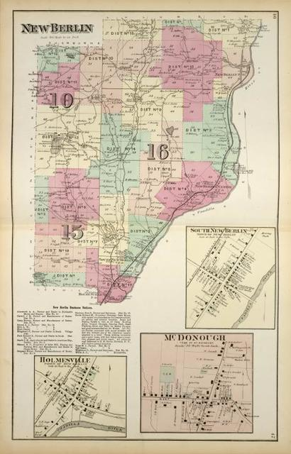 New Berlin [Township]; New Berlin Business Notices.; Holmesville [Village]; South New Berlin [Village]; Mc. Donough [Village]