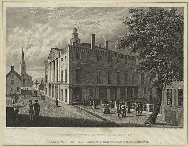 View of the old city hall, Wall St.
