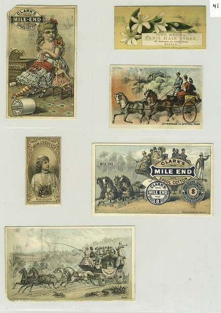 [A cigarette card of Miss Neilson in Shakespeare's 'Twelfth Night' and trade cards depicting a girl with glasses sewing, a doll, flowers, various horse and carriages.]