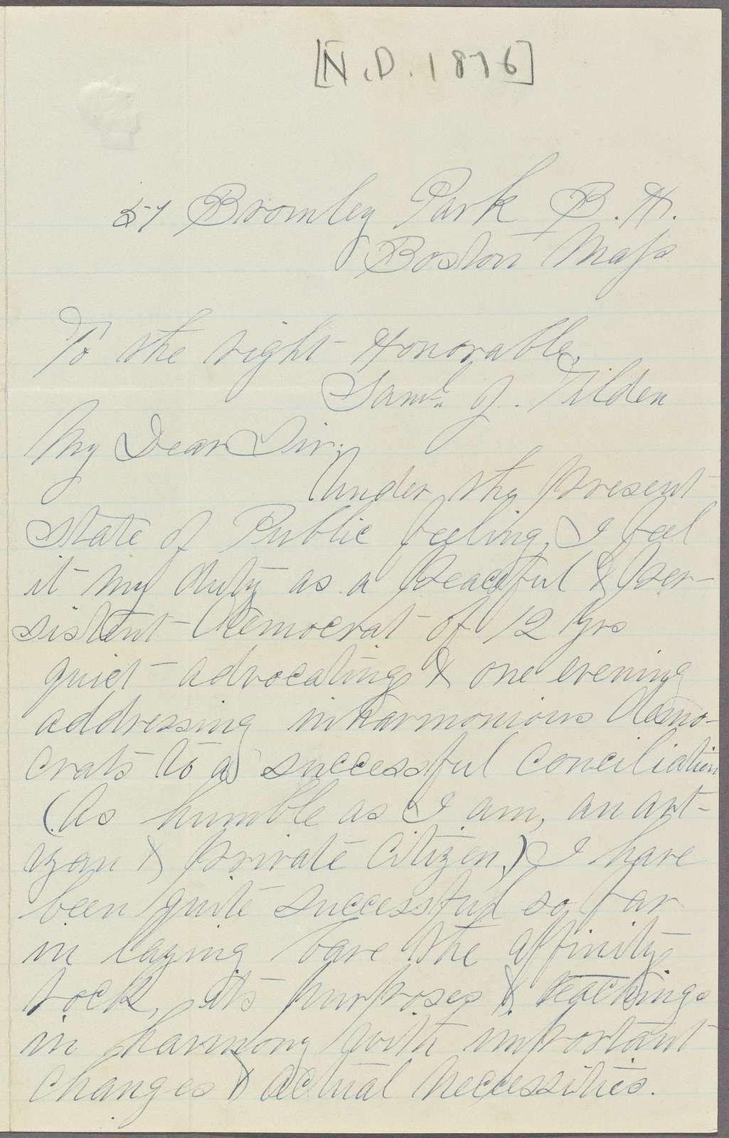 Constituent letters, 1876 December 20-31