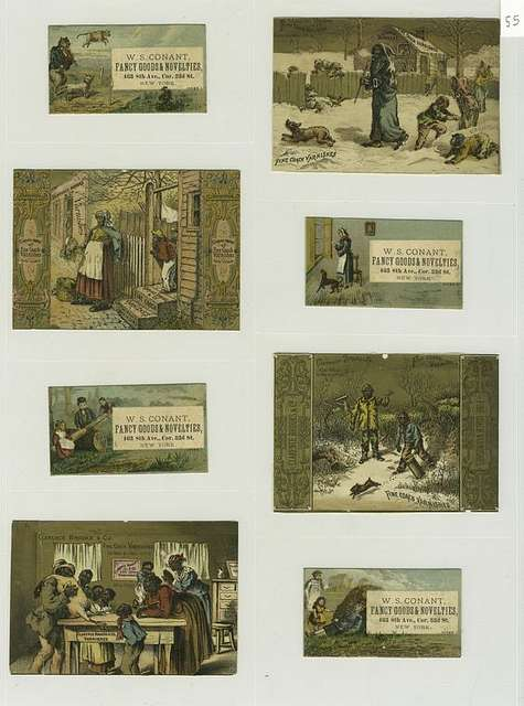 Trade cards depicting a cat playing the fiddle, a cow jumping over the moon, a dog, dish, spoon, window, hay bale, seesaw, and African Americans : in the snow, chopping wood, chasing a rabbit, throwing a rat out, bringing home a turkey.