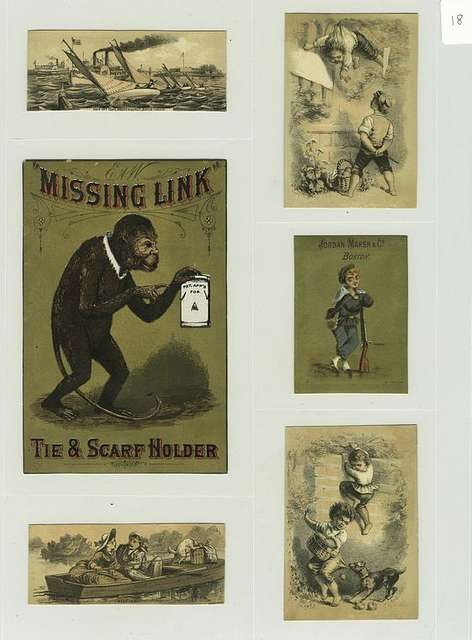 Trade cards depicting a monkey, boat race, couple fishing from a rowboat, a gun, climbing fences, stealing fruit and a dog chasing boys.