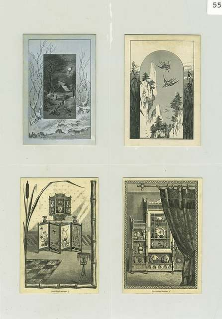 Trade cards depicting a moonlit house in the snow, a mountainous terrain, cranes, cabinet, curtains, screen, rug and vase.
