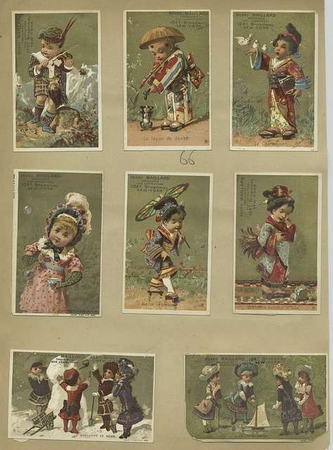 Trade cards depicting birds, a dog, children : in kimonos, with a parasol, breaking a dish, playing the violin, blowing bubbles, making a snowman and playing with a toy boat.