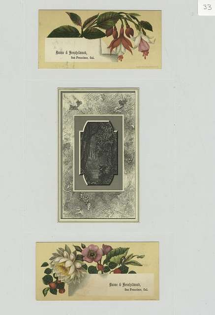 Trade cards depicting flowers and a river landscape.