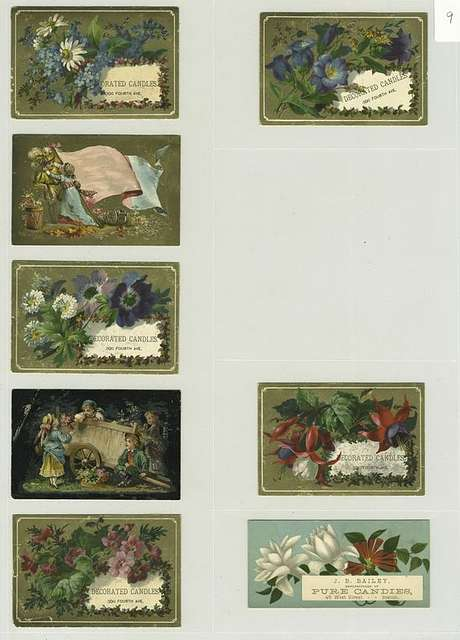 Trade cards depicting flowers, children, wheelbarrow, a flag, a man and a woman.