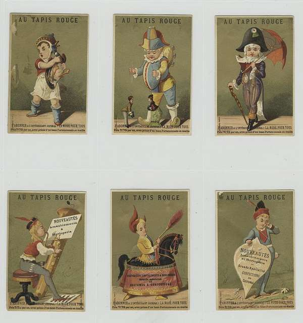 Trade cards depicting men : holding a duck, playing with puppets, with a parasol and cane, playing a brass instrument, on a horse replica and holding a sign.