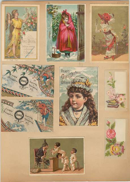 Trade cards depicting women, flowers, Asians, Little Red Riding Hood, a butterfly, a mirror and boys squirting a sleeping man with water
